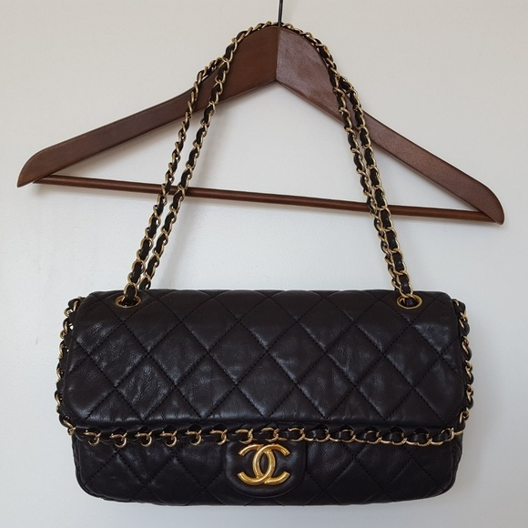 1b06fb84d0bbd8 CHANEL Handbags - CHANEL Black Quilted Gold Medium Chain Me Bag